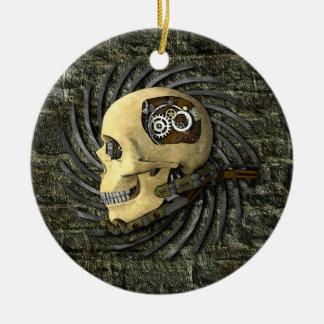 Steampunk Skull Round Ceramic Ornament
