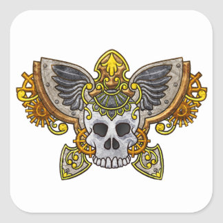 Steampunk Skull Square Sticker