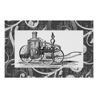 Steampunk Steam Fire Engine Poster