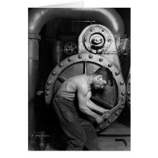 Steampunk Steam Pump Mechanic Greeting Cards