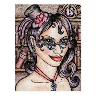 Steampunk Steamface Librarian Postcard