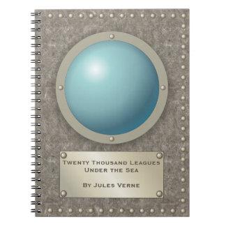 Steampunk submarine hublot spiral note books