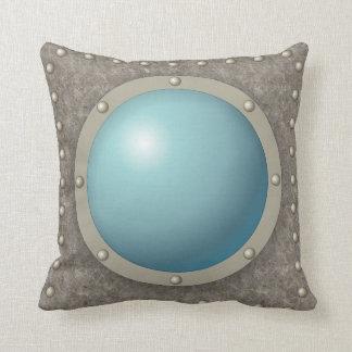 Steampunk submarine hublot throw pillow
