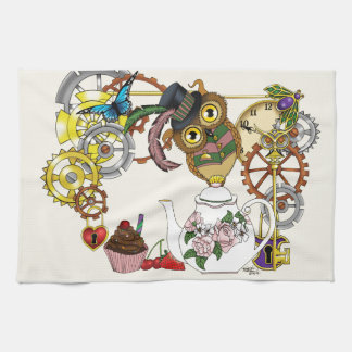 Steampunk Tea Time Owl Hand Towel