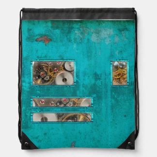 Steampunk Teal Drawstring Bag