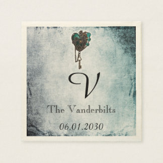 Steampunk Teal Heart Monogram Wedding Napkin Paper Napkins