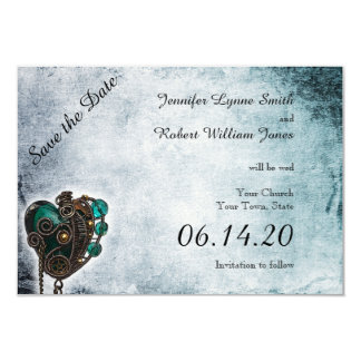 Steampunk Teal Heart Wedding Save the Date Card
