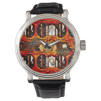 Steampunk , technical design with clocks, watch