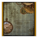 Steampunk Time Machine 5.25x5.25 Square Paper Invitation Card