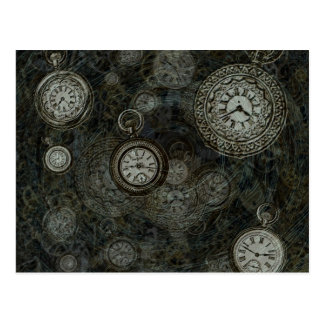 Steampunk time travel print, black, silver watches postcard