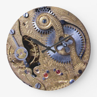 Steampunk Time Victorian Pocketwatch brass gears Large Clock