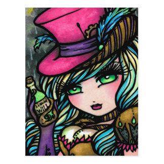 Steampunk Top Hat Potion Fairy Fantasy Art Girl Postcard
