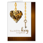 Steampunk Valentine's Day for Wife, Key and Heart Card