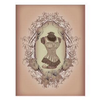 steampunk victorian floral wreath vintage corset postcard