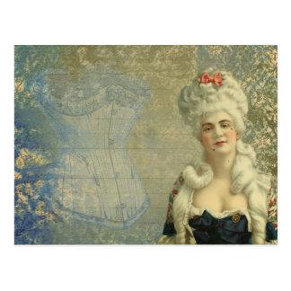 Steampunk Victorian Lady Vintage Corset Postcard