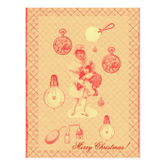 steampunk vintage Christmas girl with objects Postcard
