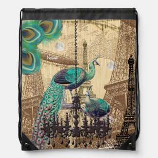 Steampunk Vintage Eiffel Tower Peacock Collage Drawstring Bag