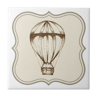 Steampunk Vintage Hot Air Balloon Tile