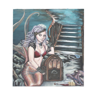 steampunk vintage mermaid where you left me notepad