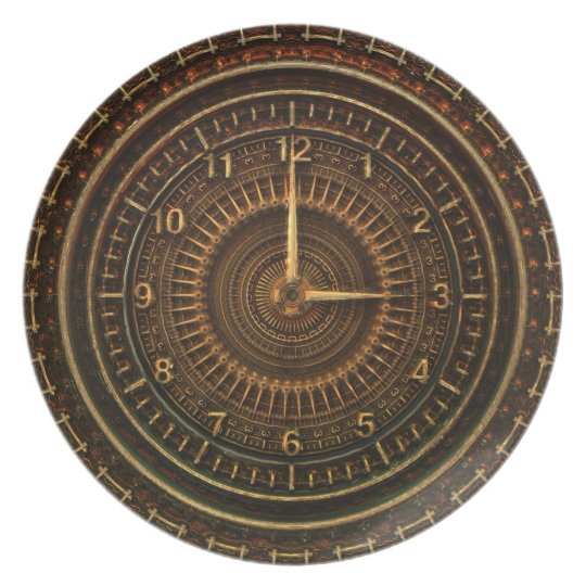 Steampunk Vintage Old-Fashioned Copper Clockwork Plate