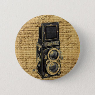 steampunk vintage scripts burlap antique camera 2 inch round button