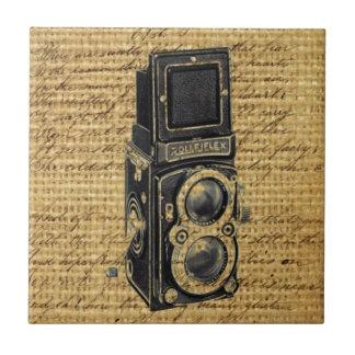 steampunk vintage scripts burlap antique camera tile