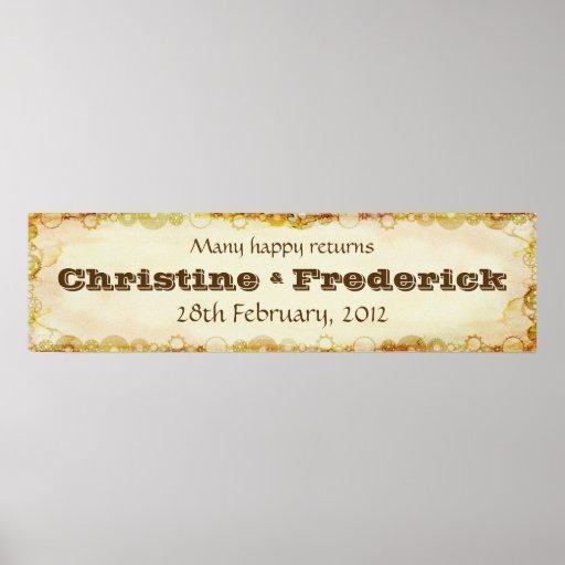 Steampunk Wedding, decorative horizontal banner Print