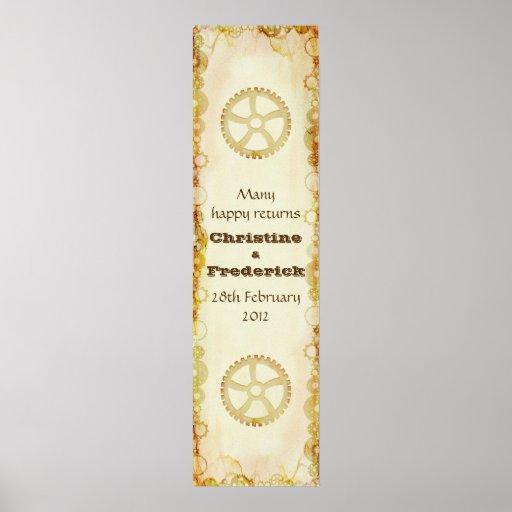 Steampunk Wedding, decorative vertical banner Print