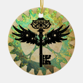 Steampunk Winged Key and Cog Wheel Ceramic Ornament