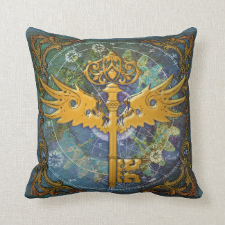 Steampunk Winged Key Throw Pillow