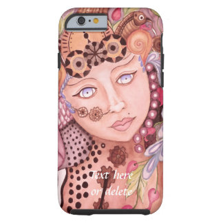 Steampunk woman themed watercolor art tough iPhone 6 case