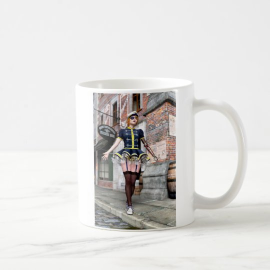 Steampunk Woman with Mechanical Arm Coffee Mug