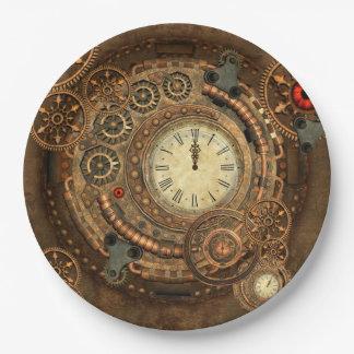 Steampunk, wonderful clockwork 9 inch paper plate