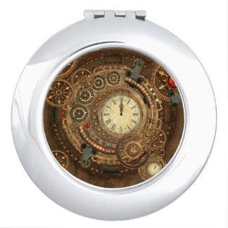 Steampunk, wonderful clockwork compact mirror
