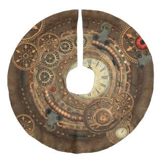 Steampunk, wonderful clockwork faux linen tree skirt