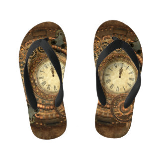 Steampunk, wonderful clockwork kid's flip flops