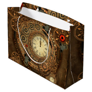 Steampunk, wonderful clockwork large gift bag
