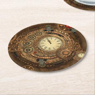 Steampunk, wonderful clockwork round paper coaster
