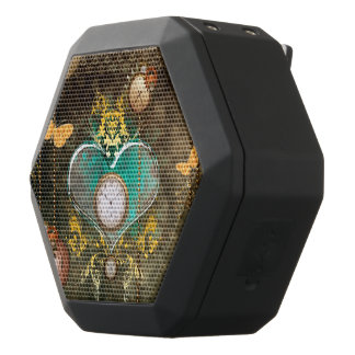 Steampunk, wonderful heart black bluetooth speaker