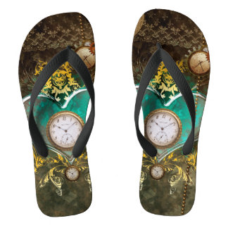 Steampunk, wonderful heart flip flops