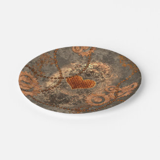 Steampunk, wonderful heart made of rusty metal 7 inch paper plate