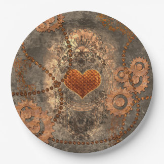 Steampunk, wonderful heart made of rusty metal 9 inch paper plate