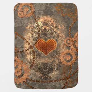 Steampunk, wonderful heart made of rusty metal baby blanket