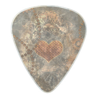 Steampunk, wonderful heart made of rusty metal pearl celluloid guitar pick