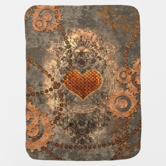 Steampunk, wonderful heart made of rusty metal receiving blankets