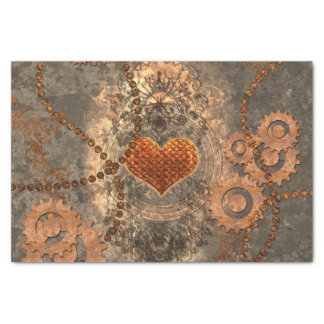 Steampunk, wonderful heart made of rusty metal tissue paper