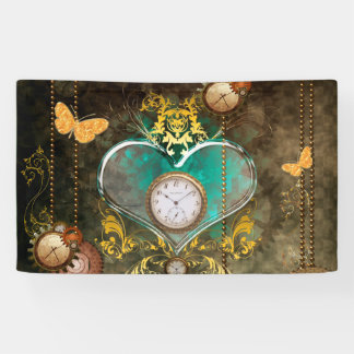 Steampunk, wonderful heart with clocks banner