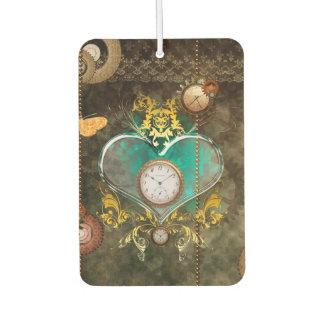 Steampunk, wonderful heart with clocks car air freshener