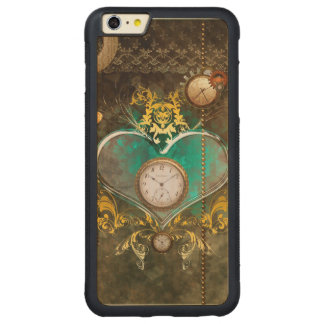 Steampunk, wonderful heart with clocks carved maple iPhone 6 plus bumper case