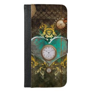Steampunk, wonderful heart with clocks iPhone 6/6s plus wallet case